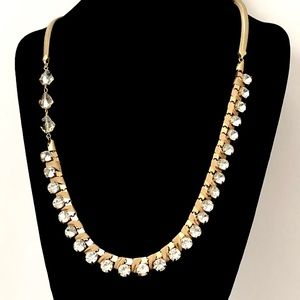 LOFT ribbon wrap gold crystal Statement necklace